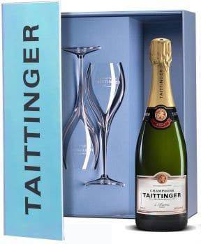 Taittinger Champagne Brut Reserve & Flutes